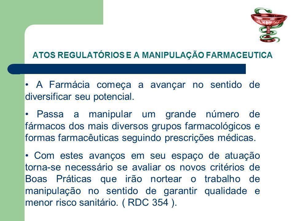 ATOS REGULATÓRIOS E A MANIPULAÇÃO FARMACEUTICA A Farmácia começa a avançar no sentido de diversificar seu potencial.