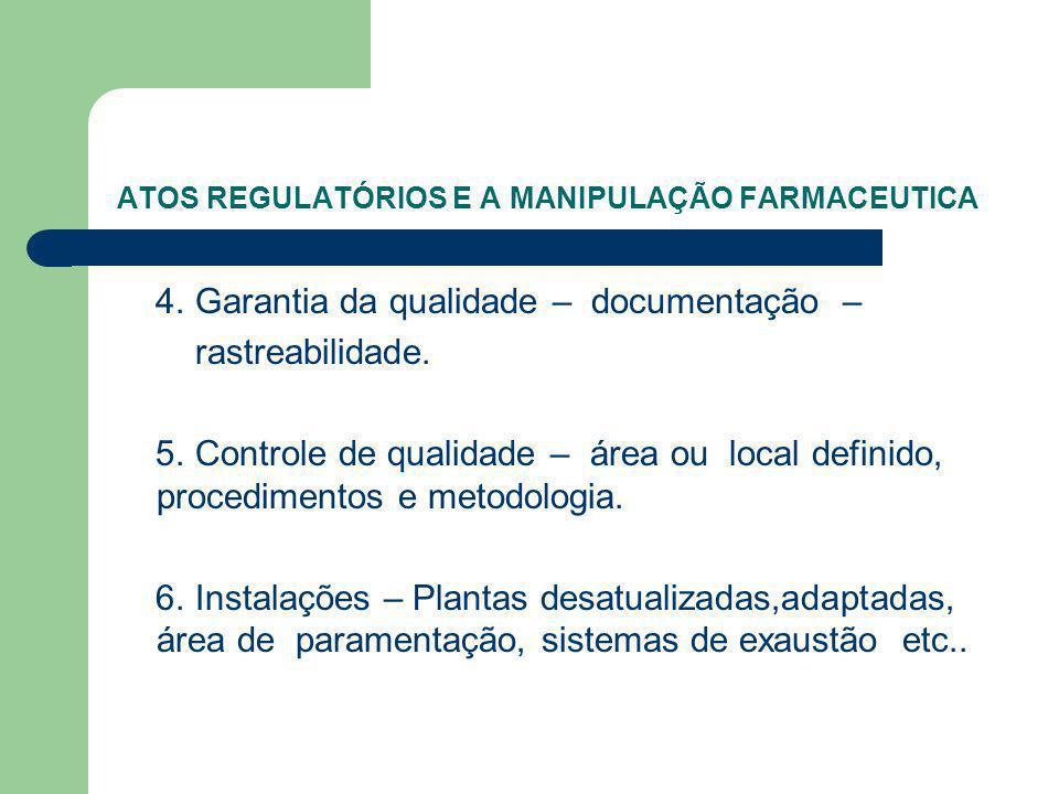 ATOS REGULATÓRIOS E A MANIPULAÇÃO FARMACEUTICA 4. Garantia da qualidade – documentação – rastreabilidade. 5. Controle de qualidade – área ou local def
