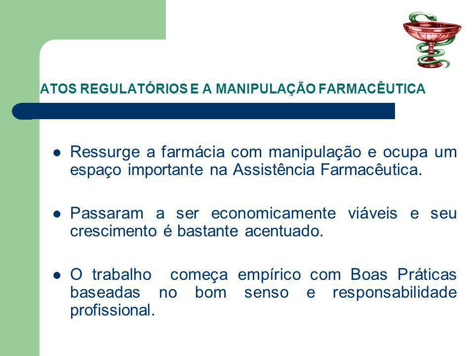 ATOS REGULATÓRIOS E A MANIPULAÇÃO FARMACÊUTICA Ressurge a farmácia com manipulação e ocupa um espaço importante na Assistência Farmacêutica.