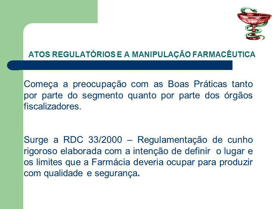 ATOS REGULATÓRIOS E A MANIPULAÇÃO FARMACÊUTICA Começa a preocupação com as Boas Práticas tanto por parte do segmento quanto por parte dos órgãos fiscalizadores.