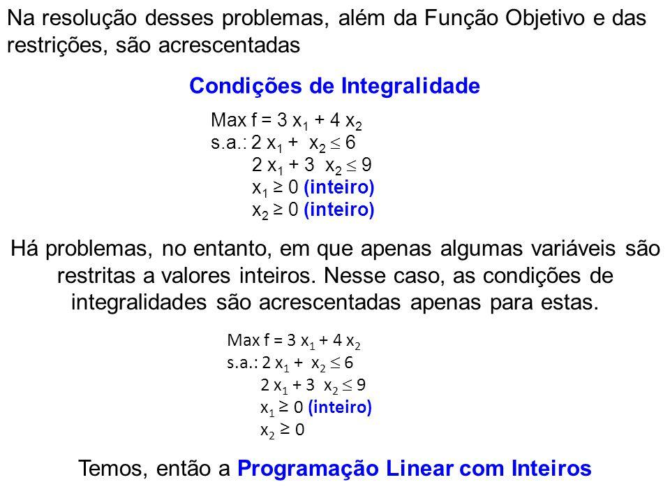 Na resolução desses problemas, além da Função Objetivo e das restrições, são acrescentadas Há problemas, no entanto, em que apenas algumas variáveis s