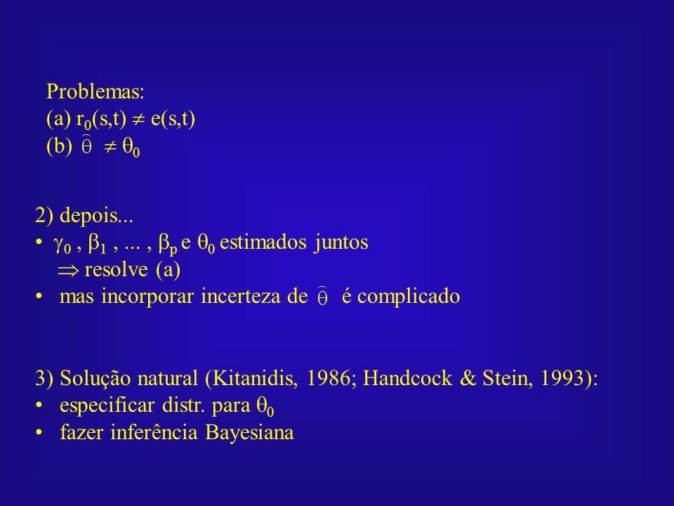 Problemas: (a) r 0 (s,t) e(s,t) (b) 0 2) depois... 0, 1,..., p e 0 estimados juntos resolve (a) mas incorporar incerteza de é complicado 3) Solução na