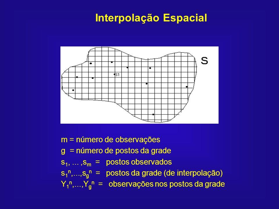 Interpolação Espacial m = número de observações g = número de postos da grade s 1,...,s m = postos observados s 1 n,...,s g n = postos da grade (de in