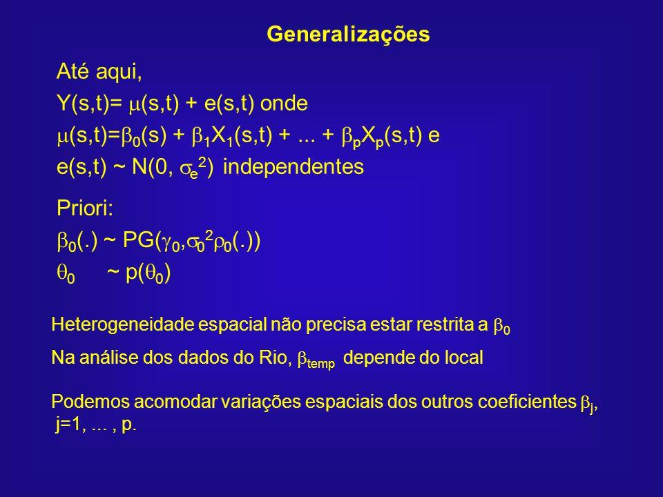 Até aqui, Y(s,t)= (s,t) + e(s,t) onde (s,t)= 0 (s) + 1 X 1 (s,t) +... + p X p (s,t) e e(s,t) ~ N(0, e 2 ) independentes Heterogeneidade espacial não p