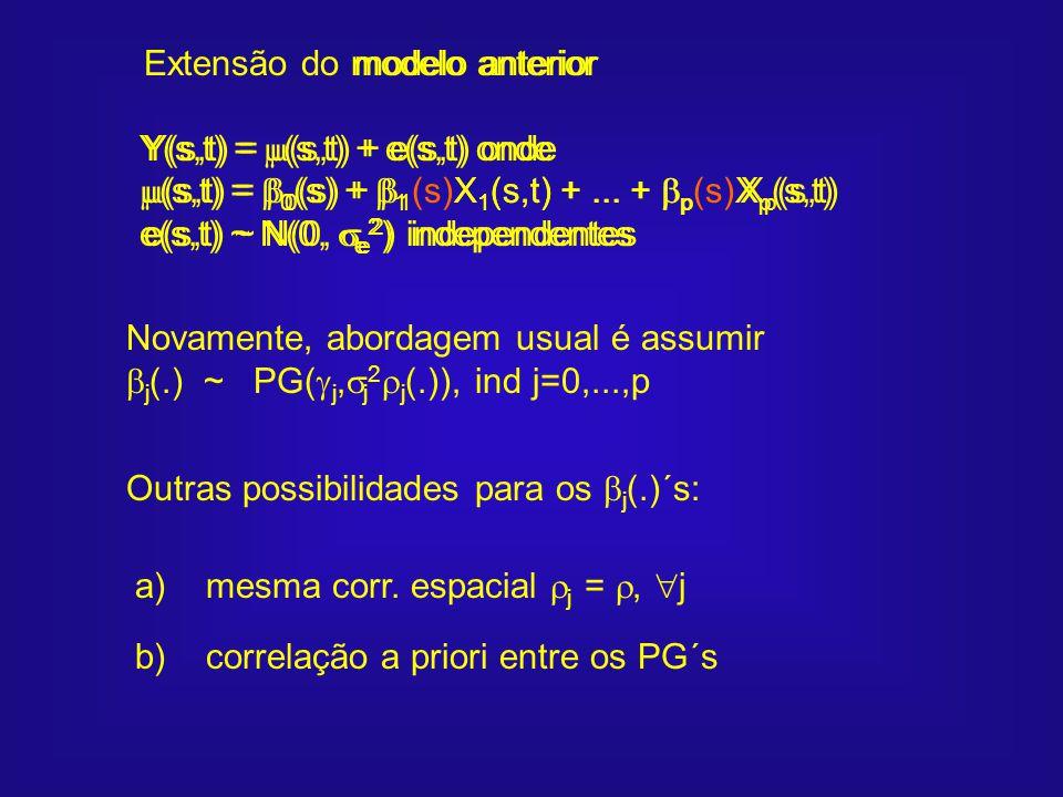 modelo anterior Y(s,t) = (s,t) + e(s,t) onde (s,t) = 0 (s) + 1 X 1 (s,t) +... + p X p (s,t) e(s,t) ~ N(0, e 2 ) independentes Extensão do modelo anter