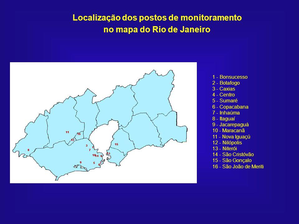 1 - Bonsucesso 2 - Botafogo 3 - Caxias 4 - Centro 5 - Sumaré 6 - Copacabana 7 - Inhaúma 8 - Itaguaí 9 - Jacarepaguá 10 - Maracanã 11 - Nova Iguaçú 12