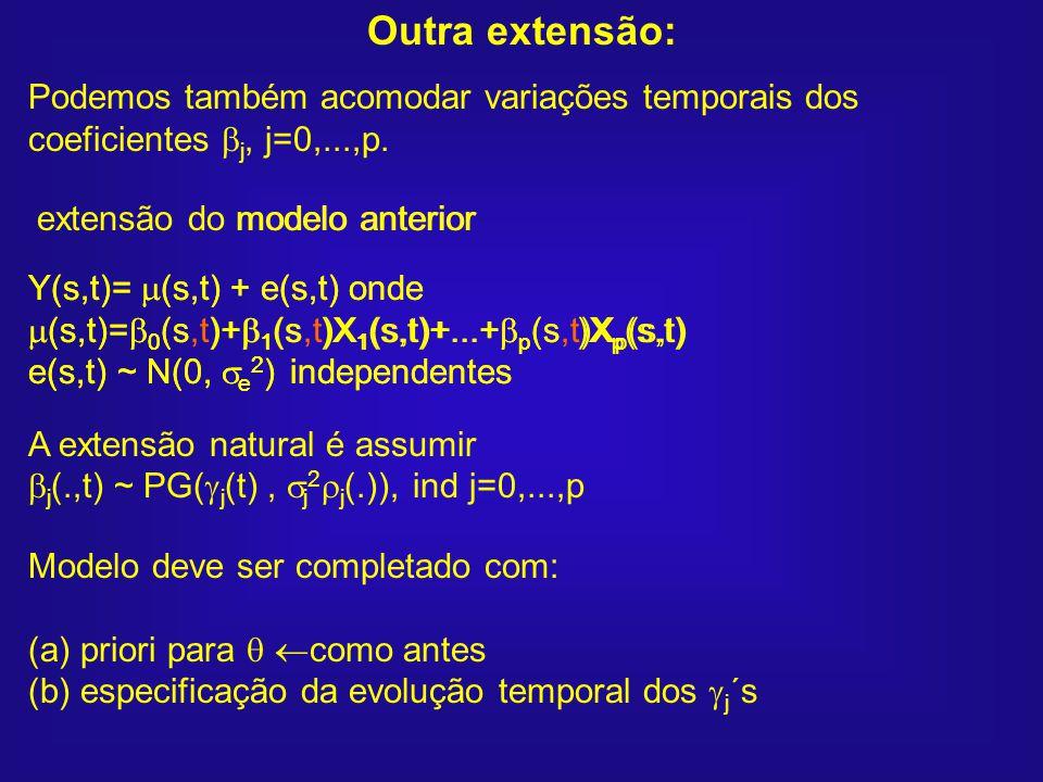 Y(s,t)= (s,t) + e(s,t) onde (s,t)= 0 (s,t)+ 1 (s,t)X 1 (s,t)+...+ p (s,t)X p (s,t) e(s,t) ~ N(0, e 2 ) independentes extensão do modelo anterior Y(s,t