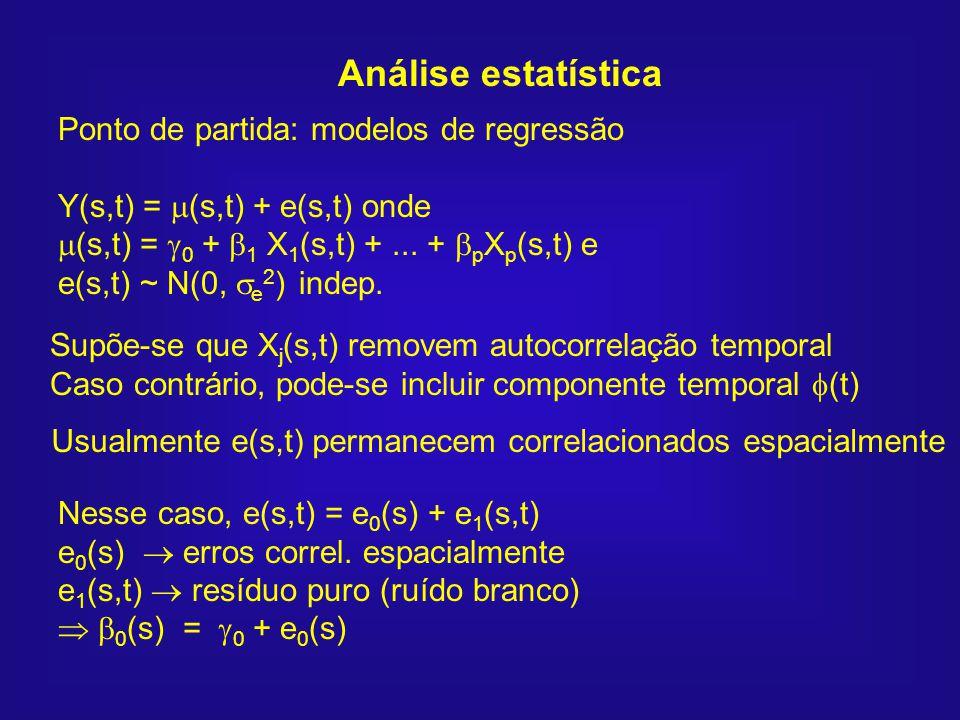 Análise estatística Ponto de partida: modelos de regressão Y(s,t) = (s,t) + e(s,t) onde (s,t) = 0 + 1 X 1 (s,t) +... + p X p (s,t) e e(s,t) ~ N(0, e 2