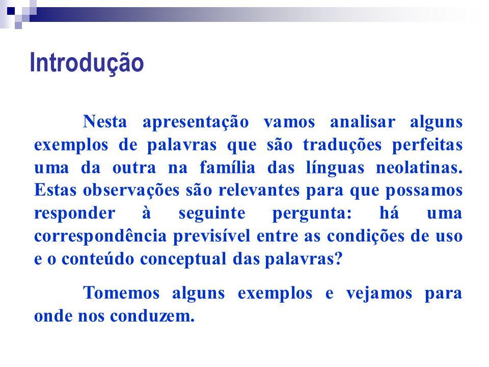 Introdução Nesta apresentação vamos analisar alguns exemplos de palavras que são traduções perfeitas uma da outra na família das línguas neolatinas. E