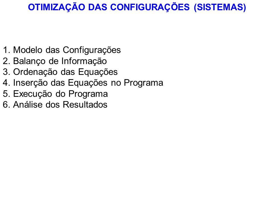 OTIMIZAÇÃO DAS CONFIGURAÇÕES (SISTEMAS) 1.Modelo das Configurações 2.Balanço de Informação 3.Ordenação das Equações 4.Inserção das Equações no Program