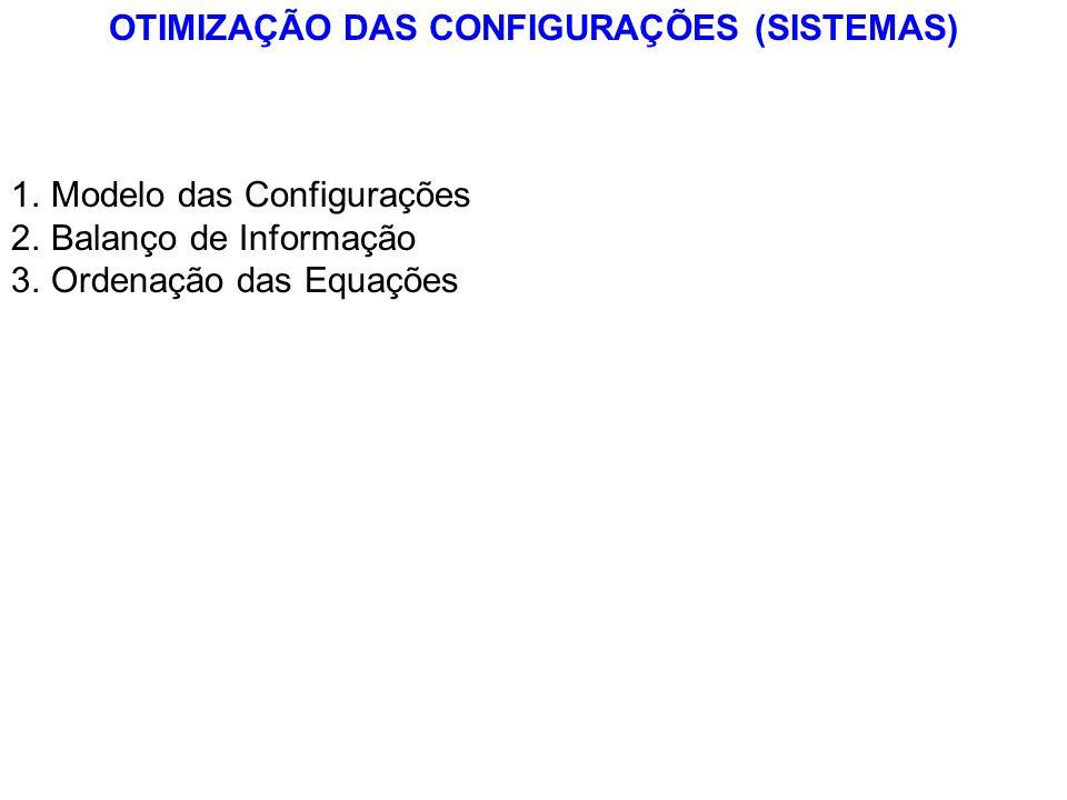 OTIMIZAÇÃO DAS CONFIGURAÇÕES (SISTEMAS) 1.Modelo das Configurações 2.Balanço de Informação 3.Ordenação das Equações