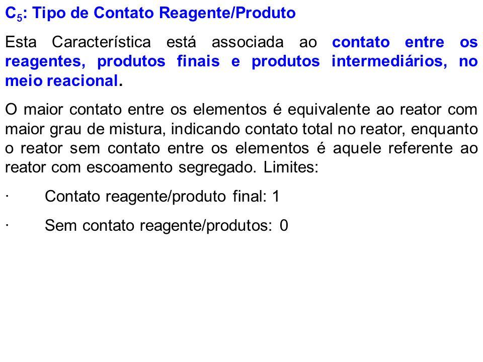 C 5 : Tipo de Contato Reagente/Produto Esta Característica está associada ao contato entre os reagentes, produtos finais e produtos intermediários, no