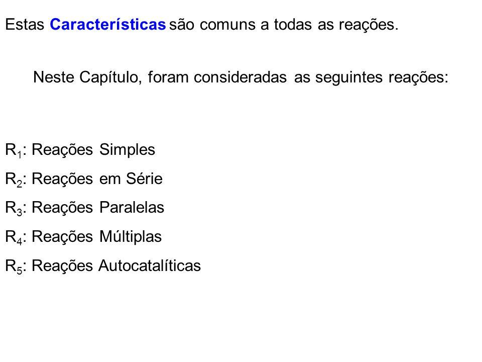 Estas Características são comuns a todas as reações. Neste Capítulo, foram consideradas as seguintes reações: R 1 : Reações Simples R 2 : Reações em S