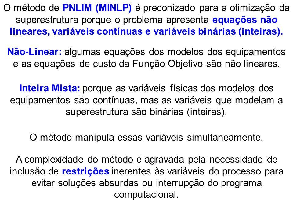O método de PNLIM (MINLP) é preconizado para a otimização da superestrutura porque o problema apresenta equações não lineares, variáveis contínuas e v