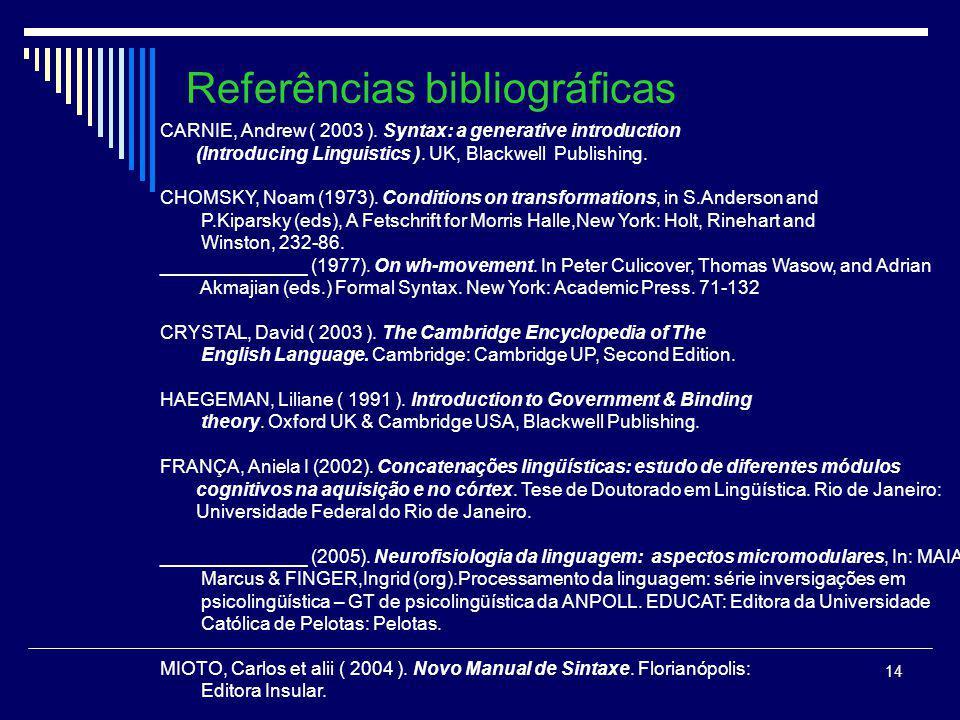 13 Conclusão A interpretação do papel temático do Sintagma-WH e a sua enunciação não acontecem no mesmo lugar. A posição de interpretação é a posição