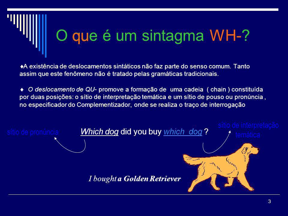2 O que é um sintagma WH-? É comum nas línguas naturais termos expressões que são ouvidas em uma posição mas são interpretadas em outra. Os sintagmas
