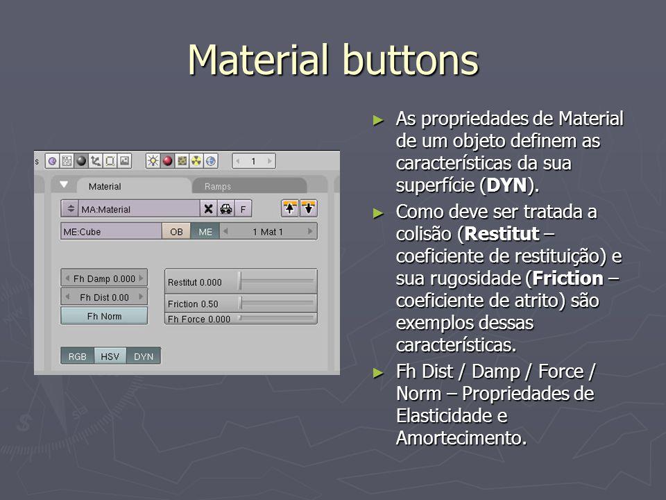 Material buttons As propriedades de Material de um objeto definem as características da sua superfície (DYN). As propriedades de Material de um objeto