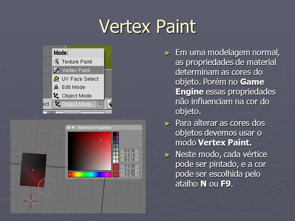 Vertex Paint Em uma modelagem normal, as propriedades de material determinam as cores do objeto. Porém no Game Engine essas propriedades não influenci