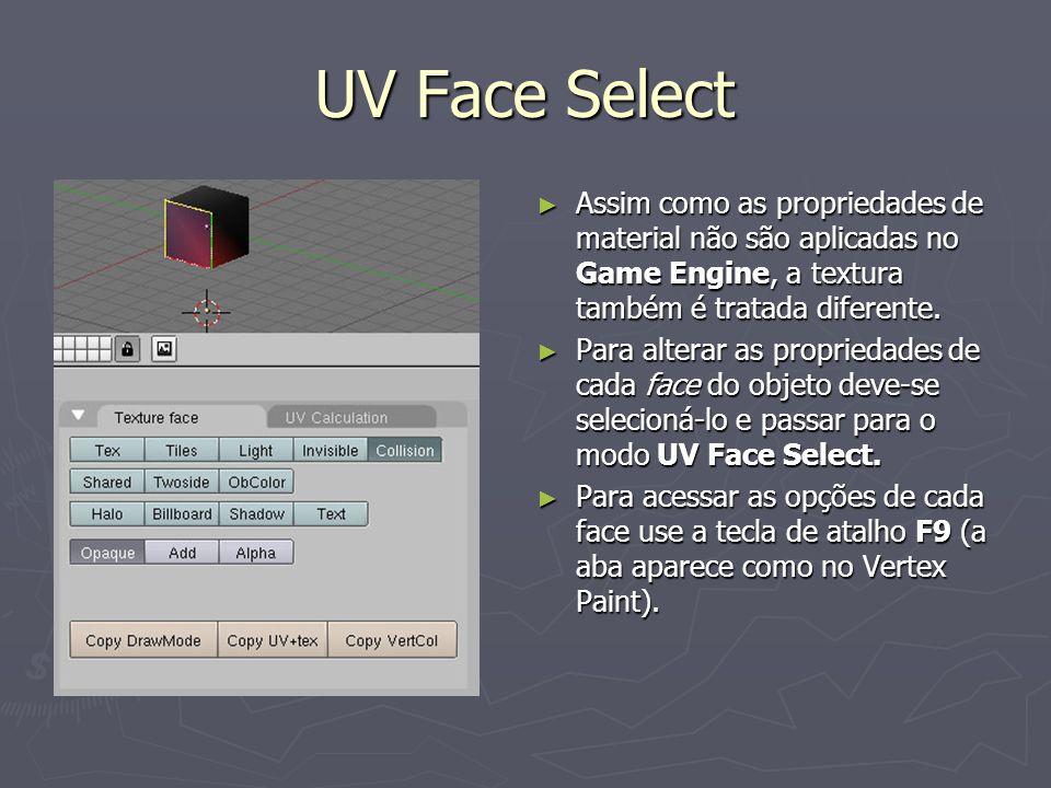 UV Face Select Assim como as propriedades de material não são aplicadas no Game Engine, a textura também é tratada diferente. Assim como as propriedad