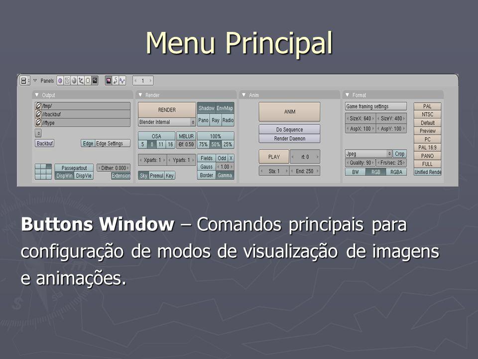 Menu Principal Buttons Window – Comandos principais para configuração de modos de visualização de imagens e animações.