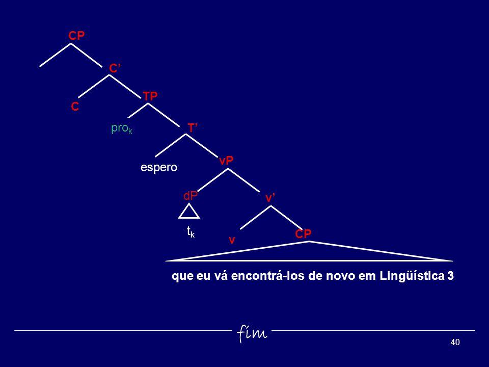 40 tktk v espero T vP TP dP pro k C CP C v fim que eu vá encontrá-los de novo em Lingüística 3