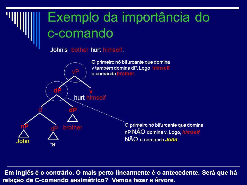 7 Exemplo da importância do c-comando O primeiro nó bifurcante que domina v também domina dP. Logo himself c-comanda brother. O primeiro nó bifurcante