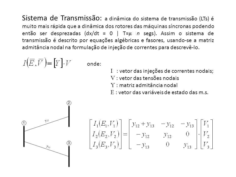 Sistema de Transmissão: a dinâmica do sistema de transmissão (LTs) é muito mais rápida que a dinâmica dos rotores das máquinas síncronas podendo então