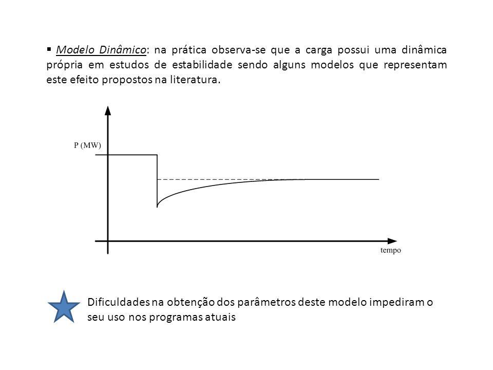 Efeitos do modelo de carga em estudos de estabilidade Potência Constante aumentar as oscilações do sistema (+ instável): Perturbações no sistema tendem a diminuir as tensões nas barras, com isso para manter S cte = V.I, a corrente da carga aumenta, aumentando mais as quedas de tensão na rede (V=Z.I), e forçando os geradores a injetar mais potência.
