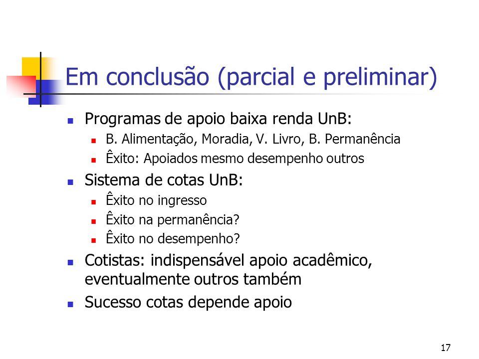 17 Em conclusão (parcial e preliminar) Programas de apoio baixa renda UnB: B.