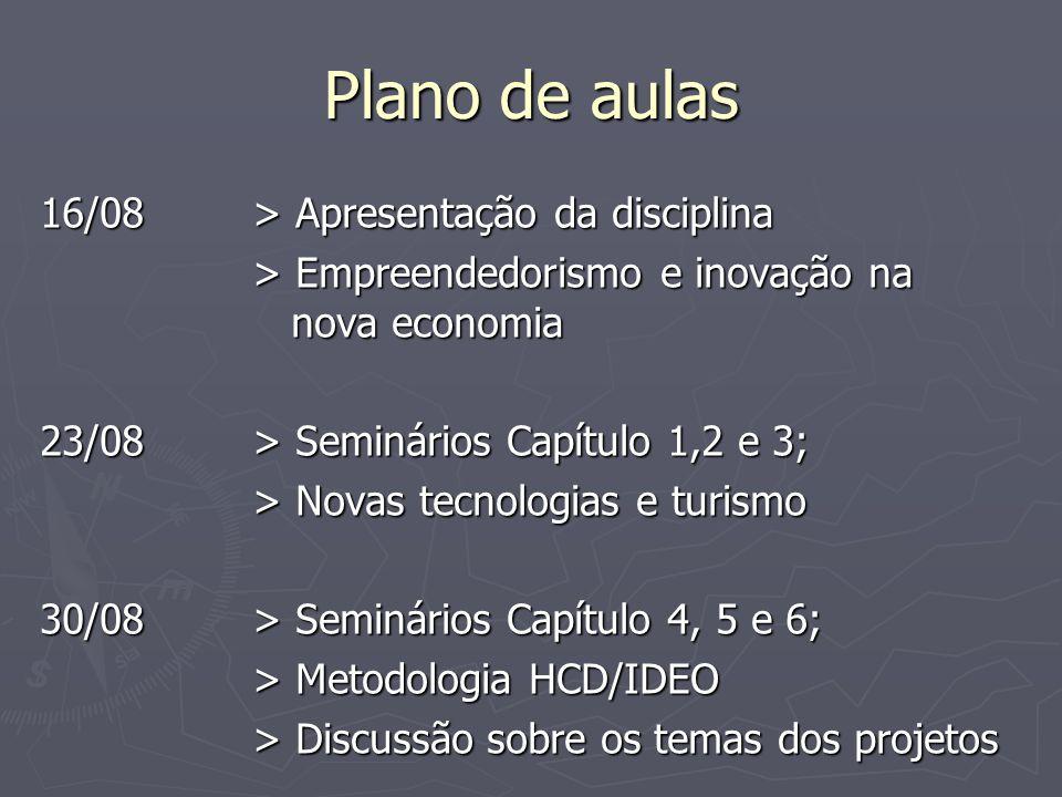 Plano de aulas 06/09> Feriado (7 de setembro) 13/09> Seminários Capítulo 7, 8 e 9; > Revisão dos projetos (fase H) 20/09> Seminários Capítulo 10; > Revisão dos projetos (fase H)