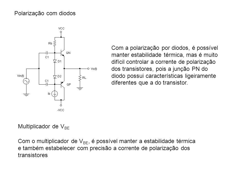 Polarização com diodos Com a polarização por diodos, é possível manter estabilidade térmica, mas é muito difícil controlar a corrente de polarização d