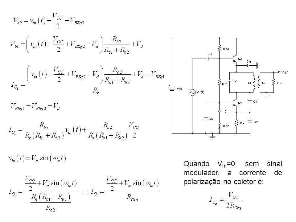 Quando V m =0, sem sinal modulador, a corrente de polarização no coletor é: