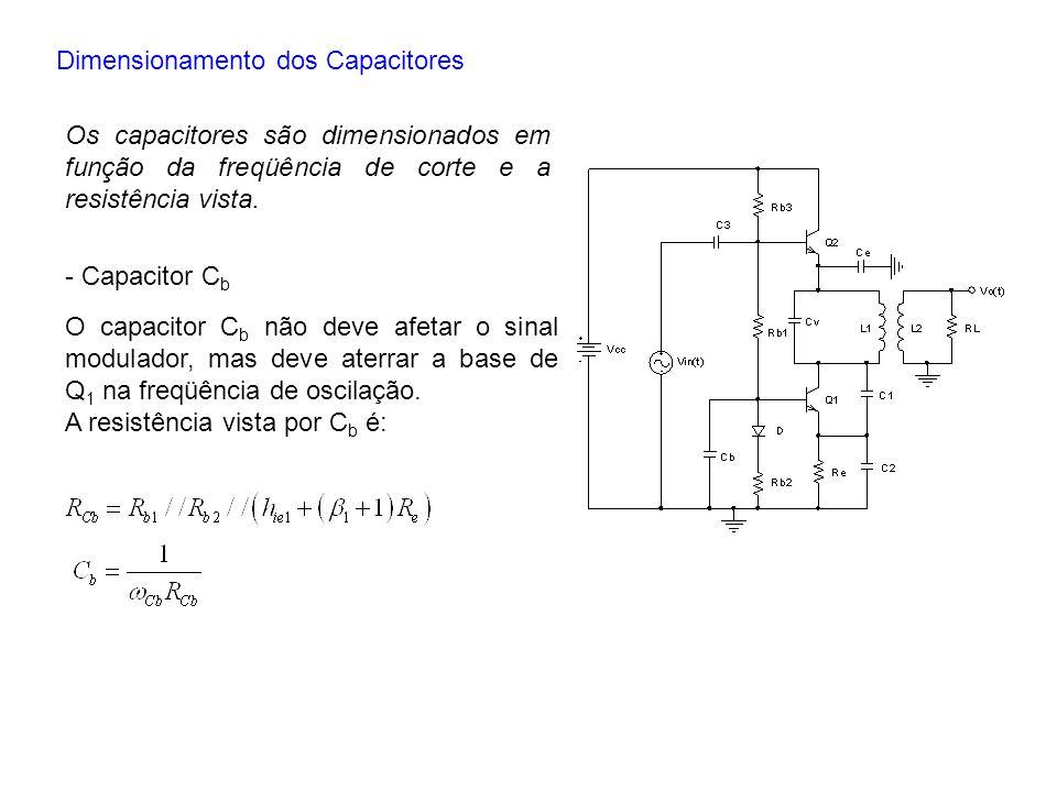 Dimensionamento dos Capacitores Os capacitores são dimensionados em função da freqüência de corte e a resistência vista. - Capacitor C b O capacitor C