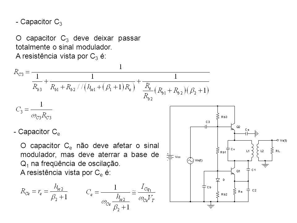 - Capacitor C 3 O capacitor C 3 deve deixar passar totalmente o sinal modulador. A resistência vista por C 3 é: - Capacitor C e O capacitor C e não de