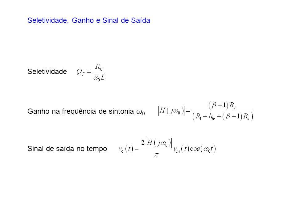Seletividade, Ganho e Sinal de Saída Seletividade Ganho na freqüência de sintonia ω 0 Sinal de saída no tempo