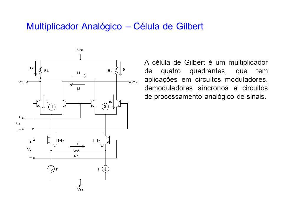 Multiplicador Analógico – Célula de Gilbert A célula de Gilbert é um multiplicador de quatro quadrantes, que tem aplicações em circuitos moduladores,