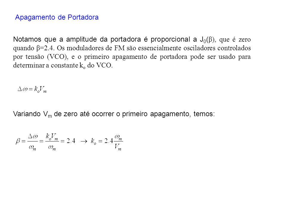 Apagamento de Portadora Notamos que a amplitude da portadora é proporcional a J 0 ( β), que é zero quando β=2.4. Os moduladores de FM são essencialmen