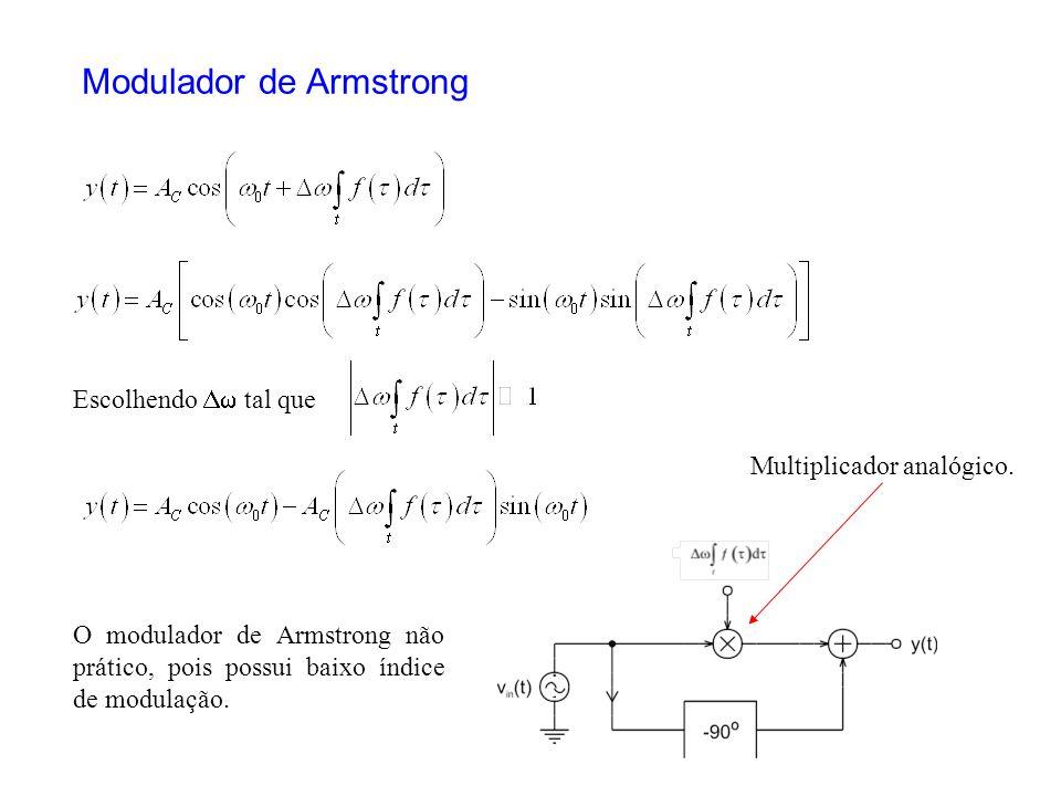 Modulador de Armstrong Escolhendo tal que Multiplicador analógico. O modulador de Armstrong não prático, pois possui baixo índice de modulação.