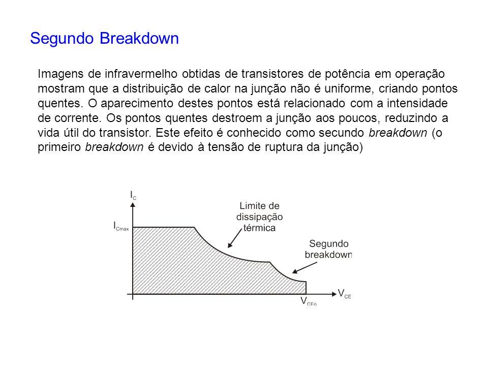 Segundo Breakdown Imagens de infravermelho obtidas de transistores de potência em operação mostram que a distribuição de calor na junção não é uniform
