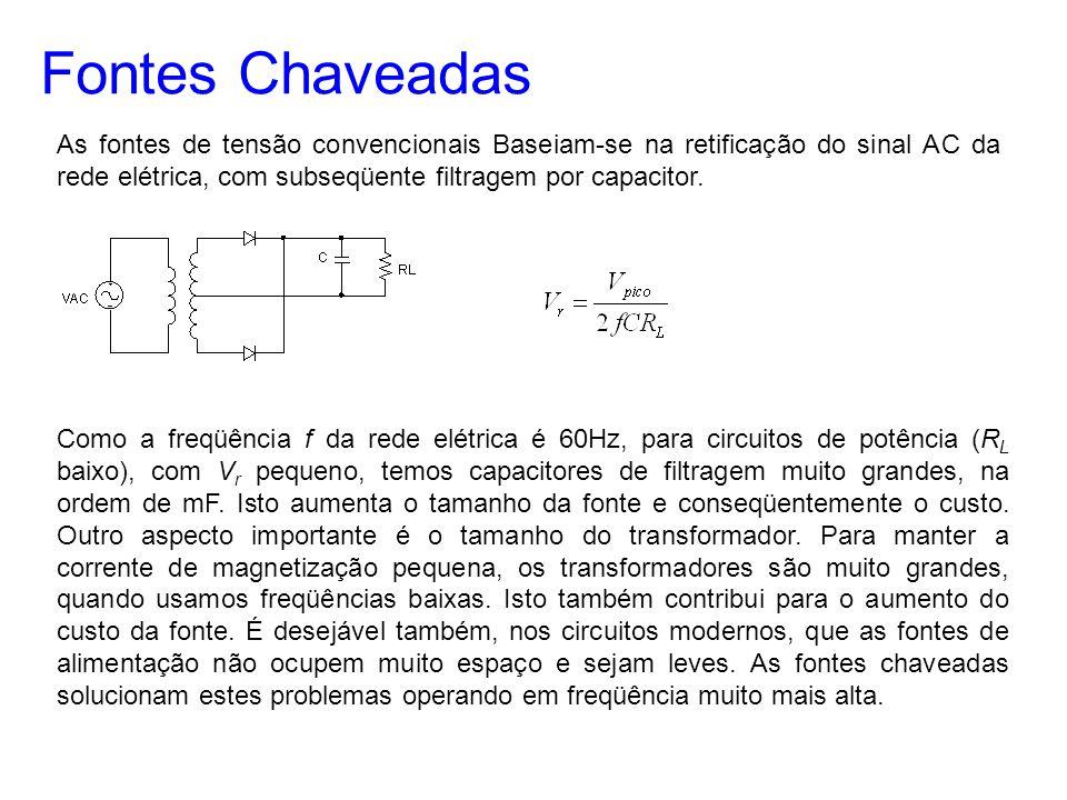 Fontes Chaveadas As fontes de tensão convencionais Baseiam-se na retificação do sinal AC da rede elétrica, com subseqüente filtragem por capacitor. Co