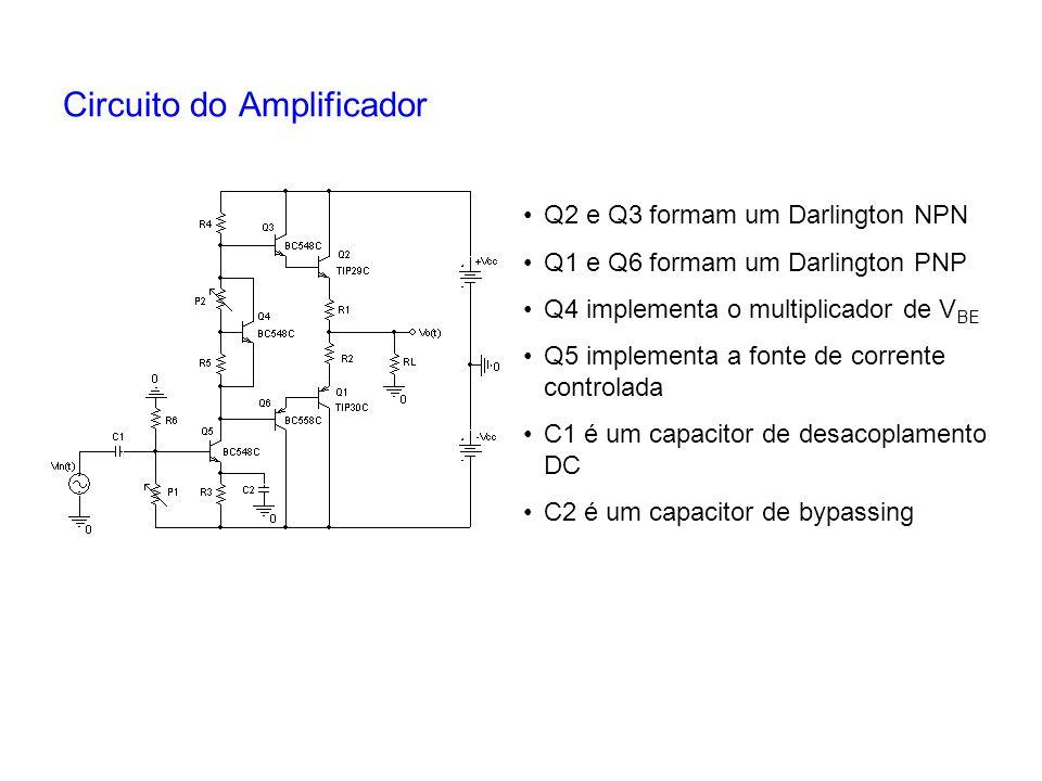 Circuito do Amplificador Q2 e Q3 formam um Darlington NPN Q1 e Q6 formam um Darlington PNP Q4 implementa o multiplicador de V BE Q5 implementa a fonte