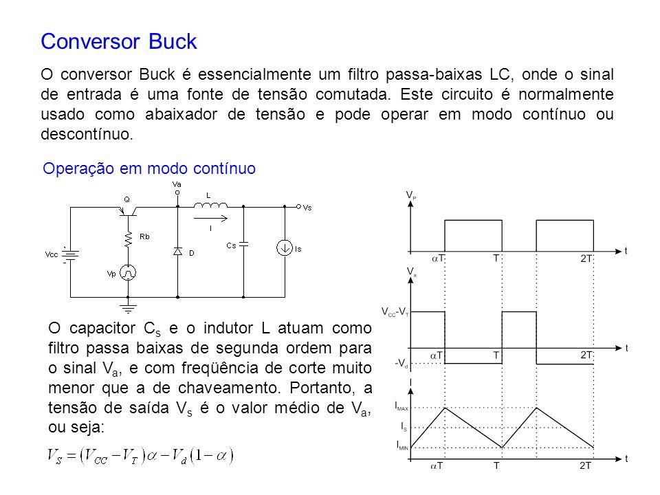 Conversor Buck O conversor Buck é essencialmente um filtro passa-baixas LC, onde o sinal de entrada é uma fonte de tensão comutada. Este circuito é no