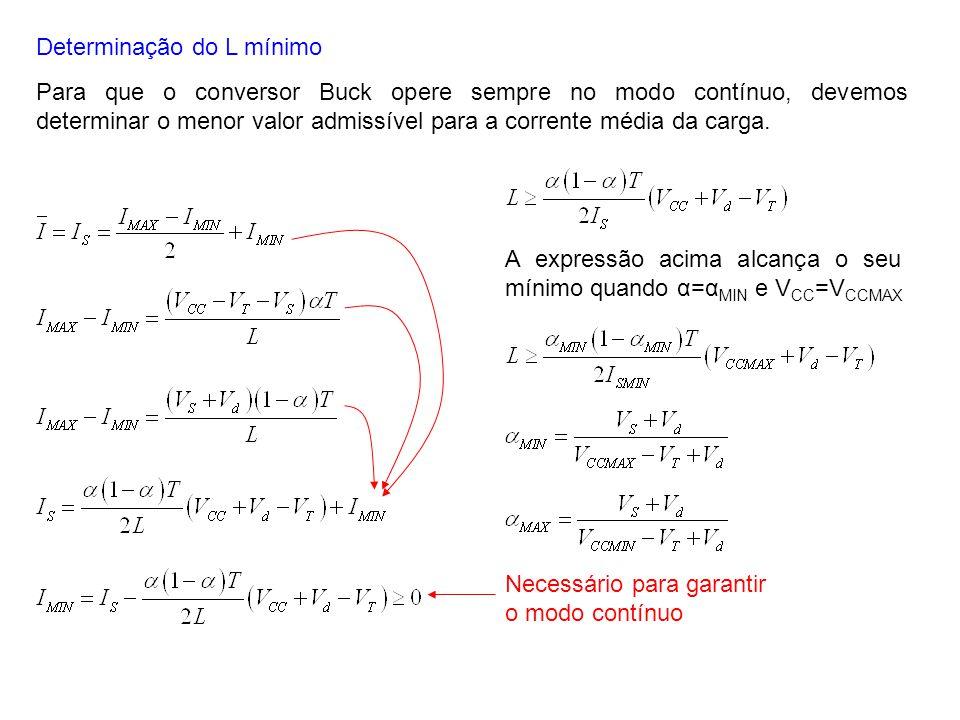 Determinação do L mínimo Para que o conversor Buck opere sempre no modo contínuo, devemos determinar o menor valor admissível para a corrente média da