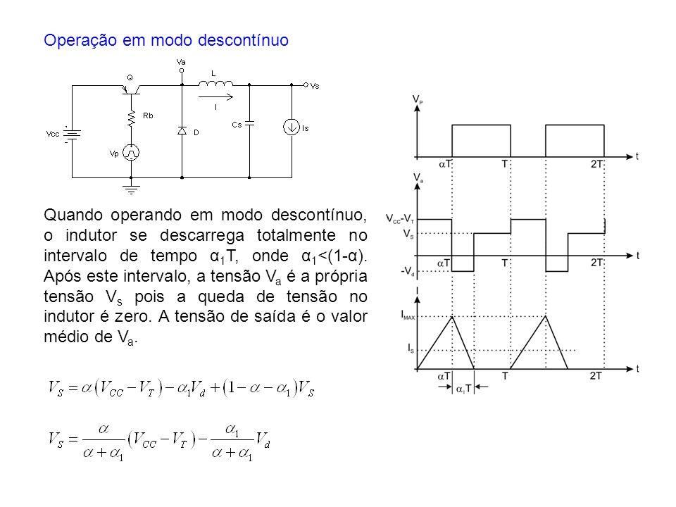 Quando operando em modo descontínuo, o indutor se descarrega totalmente no intervalo de tempo α 1 T, onde α 1 <(1-α). Após este intervalo, a tensão V