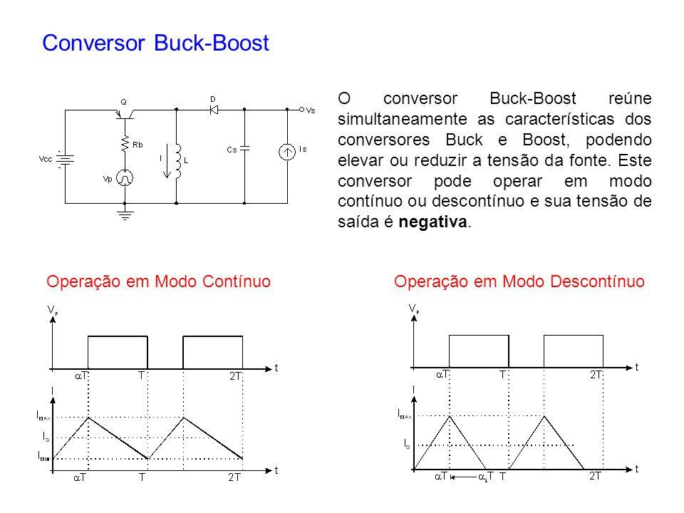 Conversor Buck-Boost O conversor Buck-Boost reúne simultaneamente as características dos conversores Buck e Boost, podendo elevar ou reduzir a tensão