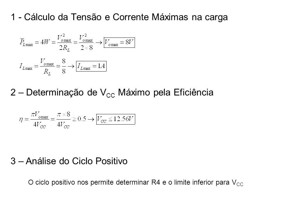 1 - Cálculo da Tensão e Corrente Máximas na carga 2 – Determinação de V CC Máximo pela Eficiência 3 – Análise do Ciclo Positivo O ciclo positivo nos p