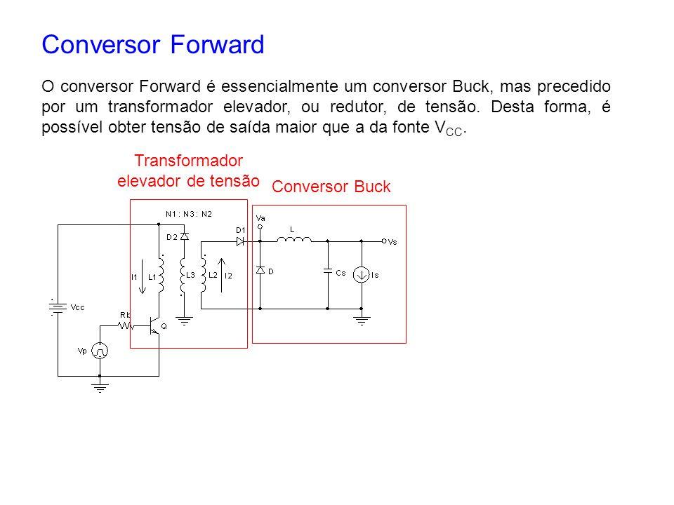 Conversor Forward O conversor Forward é essencialmente um conversor Buck, mas precedido por um transformador elevador, ou redutor, de tensão. Desta fo