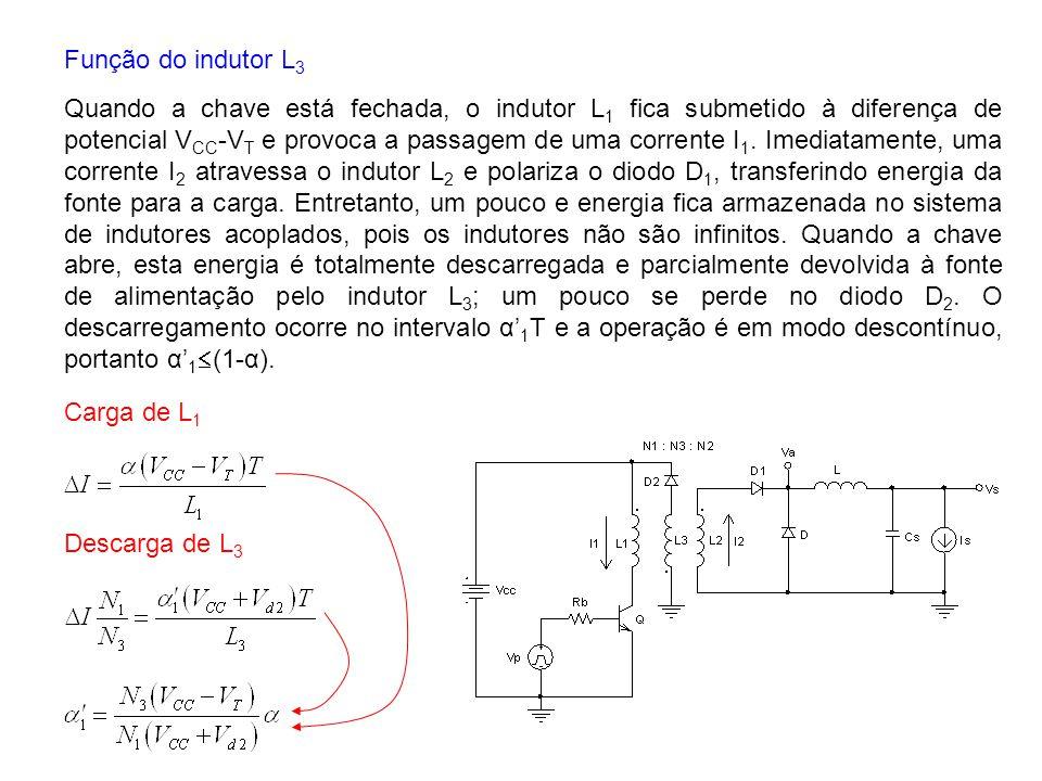 Função do indutor L 3 Quando a chave está fechada, o indutor L 1 fica submetido à diferença de potencial V CC -V T e provoca a passagem de uma corrent