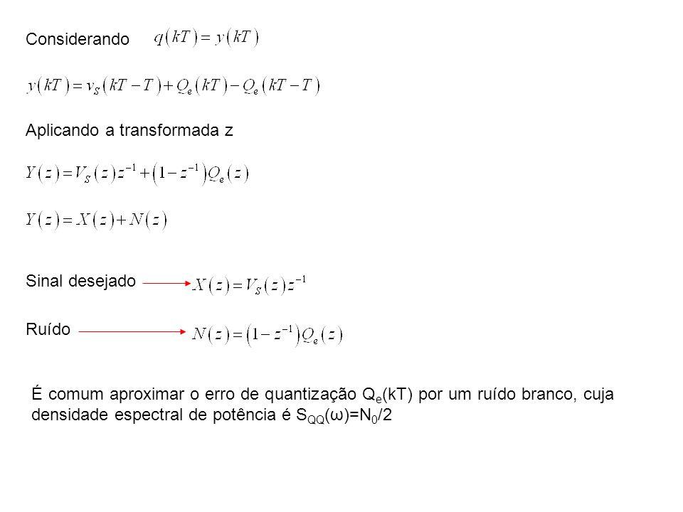 Considerando Aplicando a transformada z Sinal desejado Ruído É comum aproximar o erro de quantização Q e (kT) por um ruído branco, cuja densidade espe