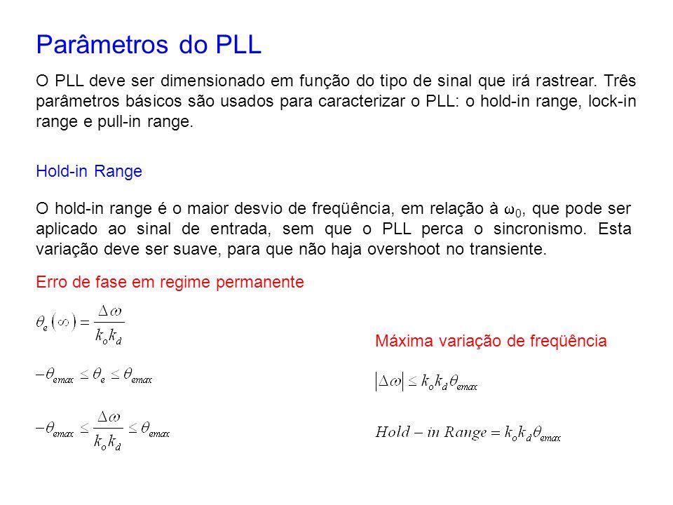 Parâmetros do PLL O PLL deve ser dimensionado em função do tipo de sinal que irá rastrear. Três parâmetros básicos são usados para caracterizar o PLL: